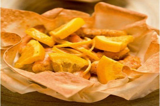Portakallı karides sepetleri