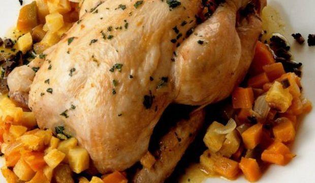 Fırında mantarlı ve balkabaklı tavuk