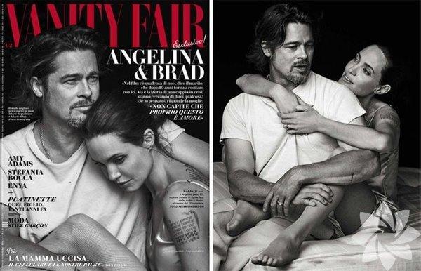 """Birlikte rol aldıkları """"By the Sea"""" adlı filmleriyle uzun süredir konuşulan Angelina Jolie ve Brad Pitt, Vanity Fair dergisinin İtalya edisyonu için kamera karşısına geçti. Derginin Kasım 2015 sayısı için özel pozlar veren çift, ünlü fotoğrafçı Peter Lindbergh'ün objektifine poz verdi. İşte Brangelina'nın aşk dolu fotoğrafları..."""