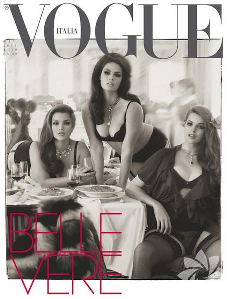 Vogue İtalya, büyük-beden mankenlerin olduğu kapağı ile dikkat çekti.