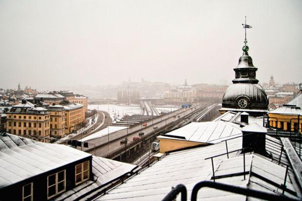Çatıda şehir turu Stockholm...