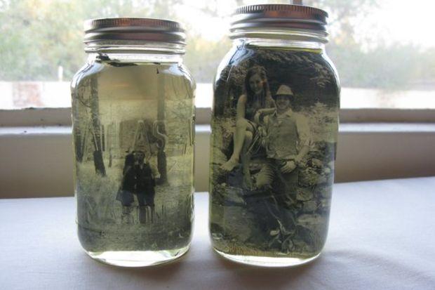 Eski kavanozlar fotoğraf çerçevesi oldu