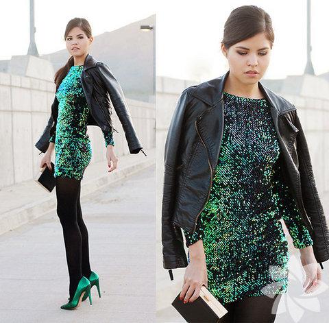 Payetli yeşil elbise
