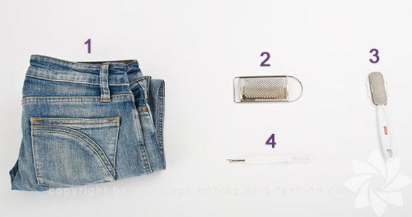 Eskimiş kotlarınız için yapabileceğiniz birçok şey var. Öncelikle eskiteceğiniz kotu seçin. Topuk rendesi veya normal rendeyi hazırlayın.
