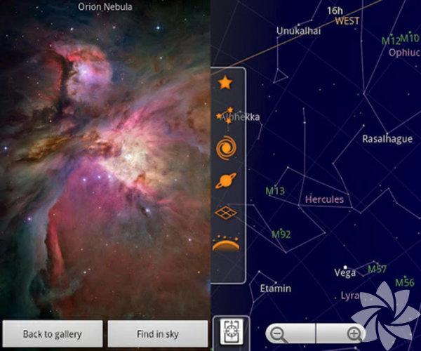 Google Sky Map - Cep telefonunuzu tam anlamıyla gökyüzüne açan bir program diyebiliriz bu program için. Şu andaki konumuzu ve telefonunuzun sensörlerini kullanarak o konumdaki gezegenleri, yıldızları ve diğer gök cisimlerini görebiliyorsunuz.