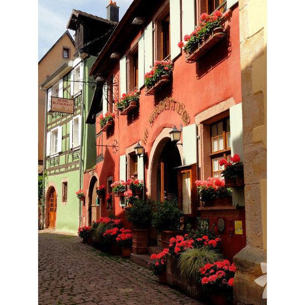 Riquewihr, Schoenenberg tepelerinde kurulmuş bir Fransız köyü.
