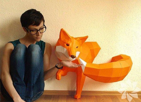Kağıttan geometrik hayvan heykelleri…