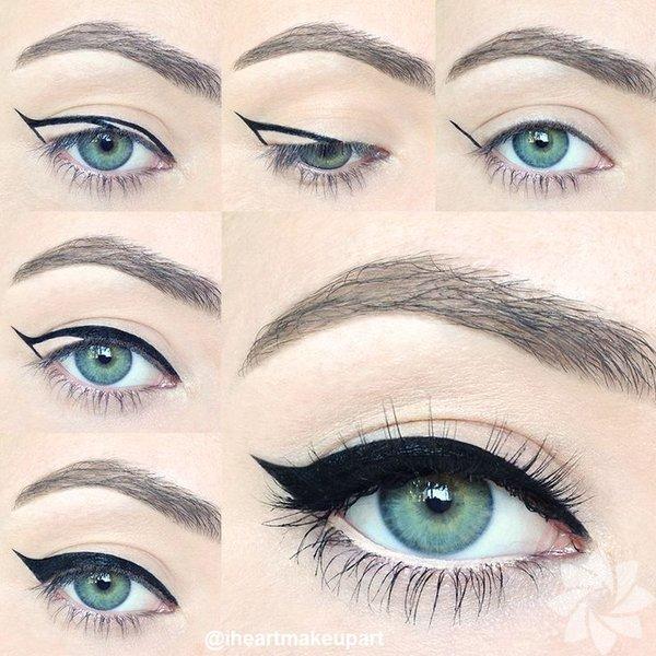 Eyeliner'ı bir hamlede sürmeyi denemeyin. Fotoğraftaki gibi küçük çizgileri birleştirerek sürerseniz daha muntazam bir çizgiye kavuşursunuz.