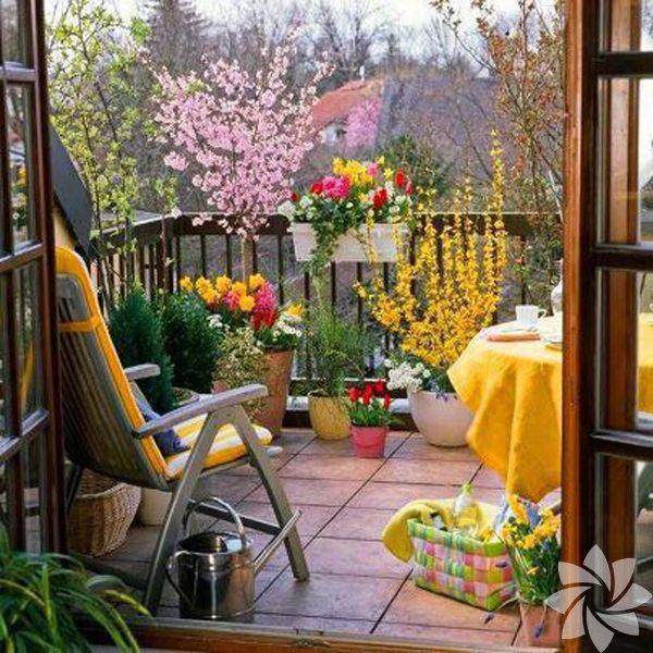 Balkon bahçesi için ihtiyacınız olan malzemeler; çiçekler, yer süslemesi için özel taşlar ya da halılar, bir kaç minik aksesuar ve tüm bunları hazırlamak, yerleştirmek için çeşitli alet edavat.