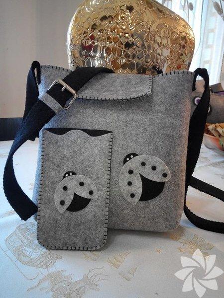 El yapımı keçe çanta modelleri