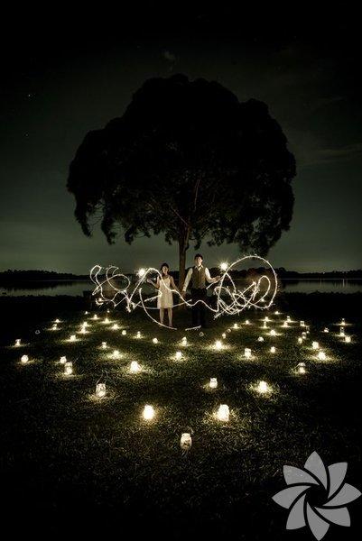 Gece çekilen düğün fotoğrafları