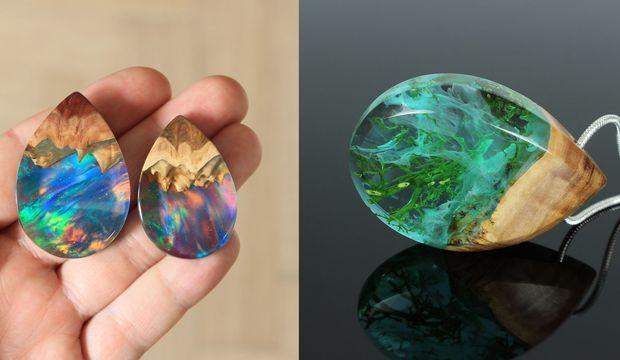 Minyatür galaksileri andıran el yapımı takı tasarımları