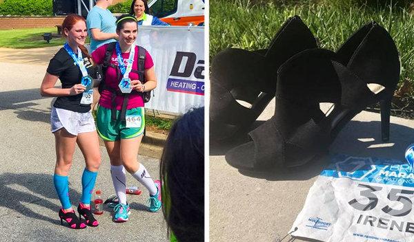 Topuklu ayakkabı giymek normal zamanlarda bile eziyet haline gelebiliyorken Irene Sewell, topuklu ayakkabıyla 43 kilometre koşarak Guinnes Rekorlar Kitabı'na girdi.
