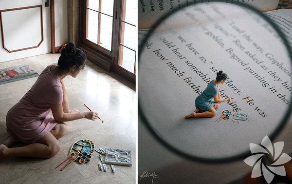 Sanatçı Katrina Yu evinde çektiği sıradan fotoğrafları hayal gücünün de yardımıyla harika eserlere çevirmiş.